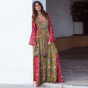 Dresses & Skirts - 🆕Boho Olive & Rose Floral Gypsy Gown Dress Kaftan